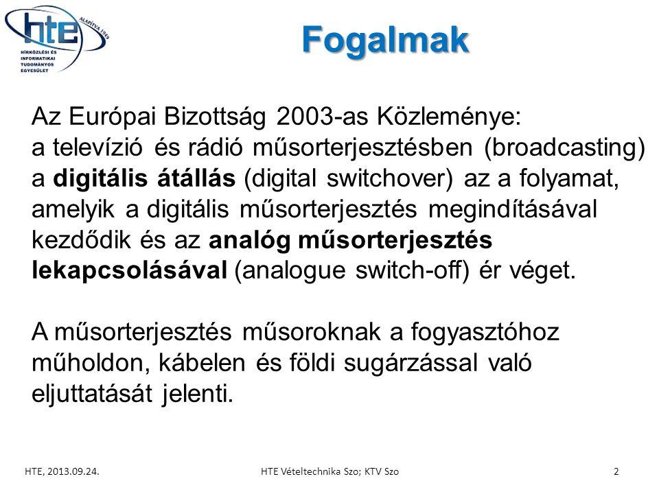 Fogalmak  Az Európai Bizottság 2003-as Közleménye:  a televízió és rádió műsorterjesztésben (broadcasting) a digitális átállás (digital switchover) az a folyamat, amelyik a digitális műsorterjesztés megindításával kezdődik és az analóg műsorterjesztés lekapcsolásával (analogue switch-off) ér véget.