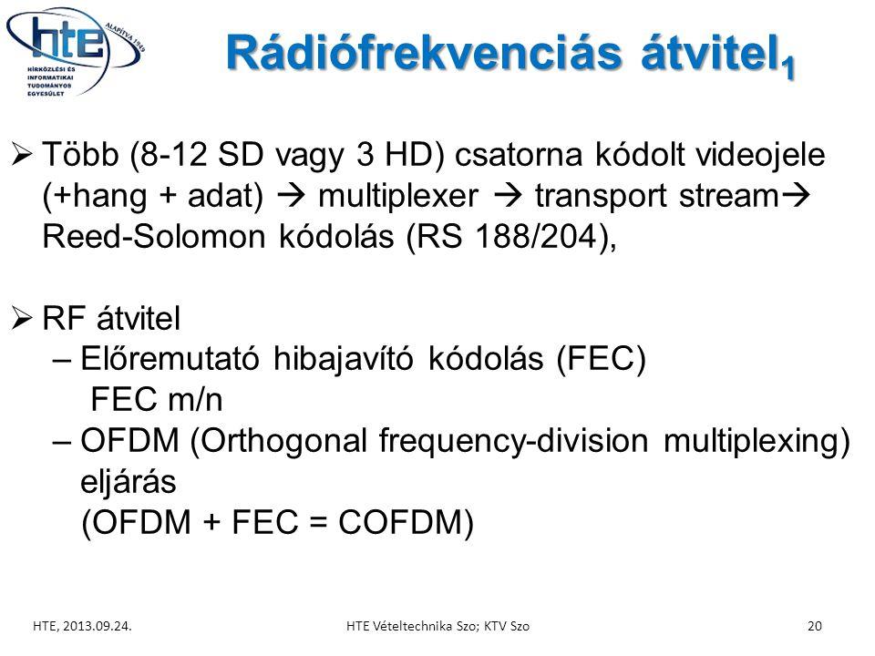 Rádiófrekvenciás átvitel 1  Több (8-12 SD vagy 3 HD) csatorna kódolt videojele (+hang + adat)  multiplexer  transport stream  Reed-Solomon kódolás (RS 188/204),  RF átvitel –Előremutató hibajavító kódolás (FEC) FEC m/n –OFDM (Orthogonal frequency-division multiplexing) eljárás (OFDM + FEC = COFDM) HTE, 2013.09.24.HTE Vételtechnika Szo; KTV Szo20