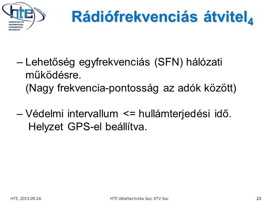 Rádiófrekvenciás átvitel 4 –Lehetőség egyfrekvenciás (SFN) hálózati működésre.
