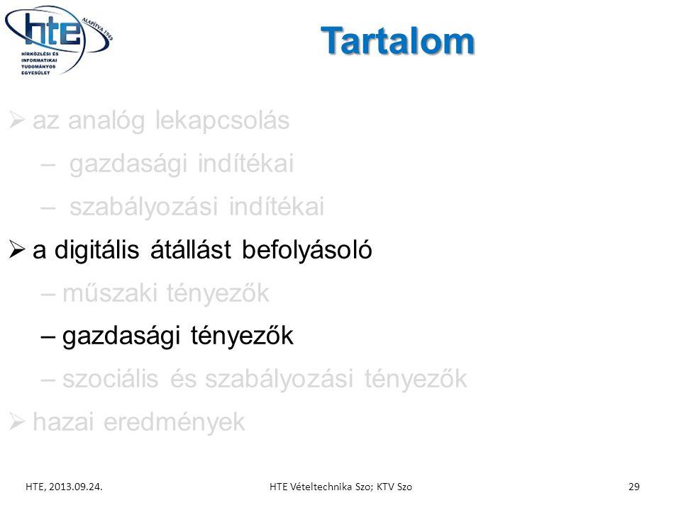 Tartalom  az analóg lekapcsolás – gazdasági indítékai – szabályozási indítékai  a digitális átállást befolyásoló –műszaki tényezők –gazdasági tényezők –szociális és szabályozási tényezők  hazai eredmények HTE, 2013.09.24.HTE Vételtechnika Szo; KTV Szo29