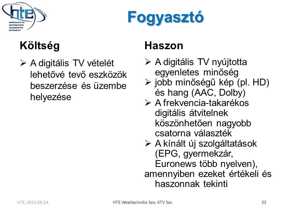 Fogyasztó Költség  A digitális TV vételét lehetővé tevő eszközök beszerzése és üzembe helyezése Haszon  A digitális TV nyújtotta egyenletes minőség  jobb minőségű kép (pl.