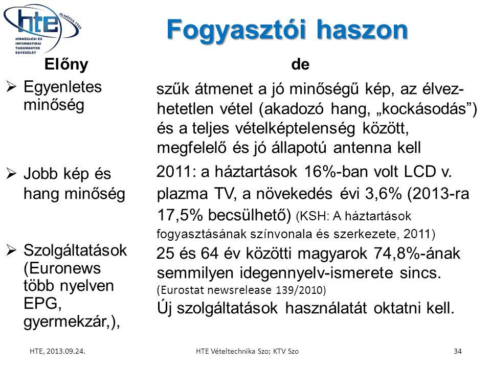 """Fogyasztói haszon Előny  Egyenletes minőség  Jobb kép és hang minőség  Szolgáltatások (Euronews több nyelven EPG, gyermekzár,), de szűk átmenet a jó minőségű kép, az élvez- hetetlen vétel (akadozó hang, """"kockásodás ) és a teljes vételképtelenség között, megfelelő és jó állapotú antenna kell 2011: a háztartások 16%-ban volt LCD v."""