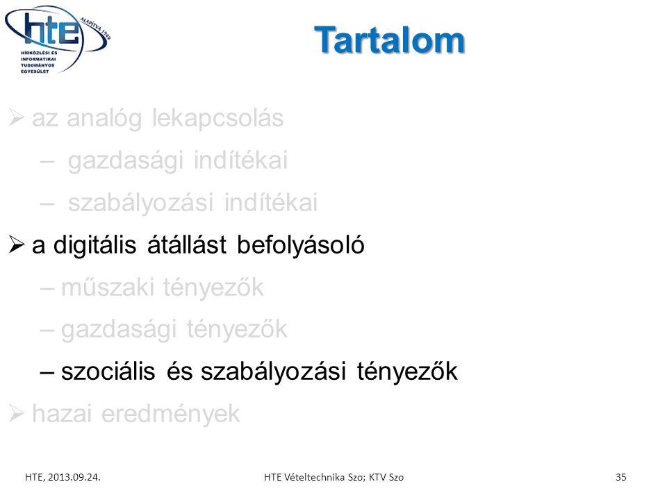 Tartalom  az analóg lekapcsolás – gazdasági indítékai – szabályozási indítékai  a digitális átállást befolyásoló –műszaki tényezők –gazdasági tényezők –szociális és szabályozási tényezők  hazai eredmények HTE, 2013.09.24.HTE Vételtechnika Szo; KTV Szo35