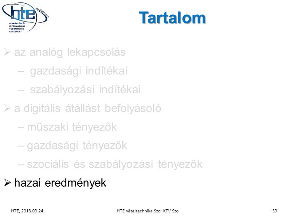 Tartalom  az analóg lekapcsolás – gazdasági indítékai – szabályozási indítékai  a digitális átállást befolyásoló –műszaki tényezők –gazdasági tényezők –szociális és szabályozási tényezők  hazai eredmények HTE, 2013.09.24.HTE Vételtechnika Szo; KTV Szo39