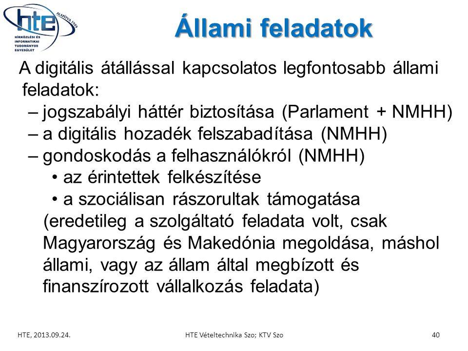 Állami feladatok A digitális átállással kapcsolatos legfontosabb állami feladatok: –jogszabályi háttér biztosítása (Parlament + NMHH) –a digitális hozadék felszabadítása (NMHH) –gondoskodás a felhasználókról (NMHH) •az érintettek felkészítése •a szociálisan rászorultak támogatása (eredetileg a szolgáltató feladata volt, csak Magyarország és Makedónia megoldása, máshol állami, vagy az állam által megbízott és finanszírozott vállalkozás feladata) HTE, 2013.09.24.40HTE Vételtechnika Szo; KTV Szo