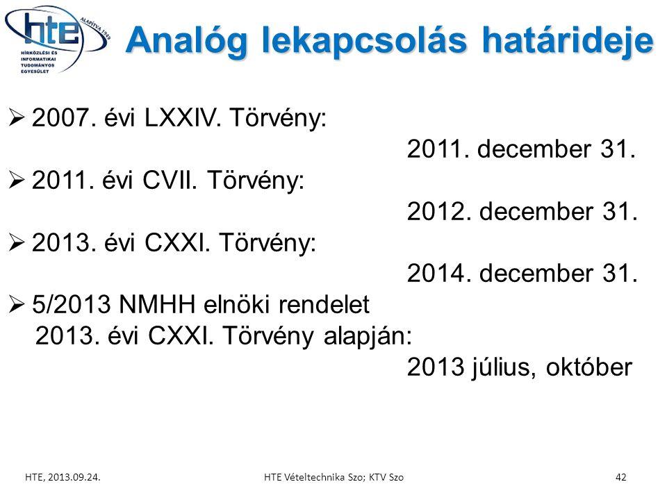 Analóg lekapcsolás határideje  2007.évi LXXIV. Törvény: 2011.