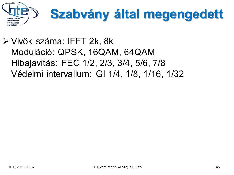 Szabvány által megengedett  Vivők száma: IFFT 2k, 8k Moduláció: QPSK, 16QAM, 64QAM Hibajavítás: FEC 1/2, 2/3, 3/4, 5/6, 7/8 Védelmi intervallum: GI 1/4, 1/8, 1/16, 1/32 HTE, 2013.09.24.HTE Vételtechnika Szo; KTV Szo45
