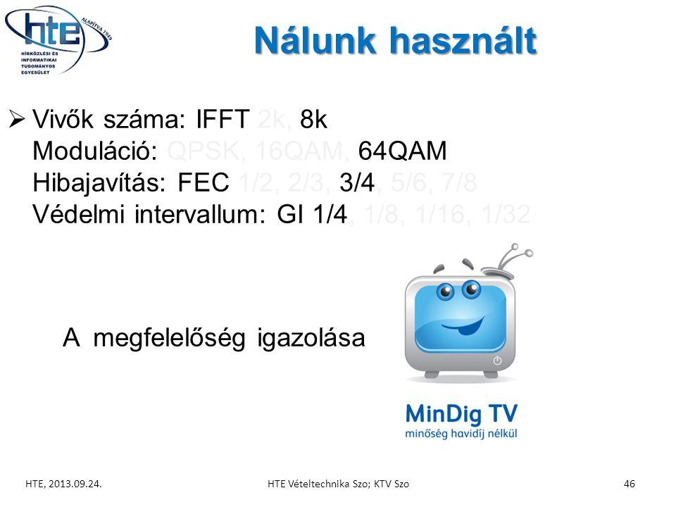 Nálunk használt  Vivők száma: IFFT 2k, 8k Moduláció: QPSK, 16QAM, 64QAM Hibajavítás: FEC 1/2, 2/3, 3/4, 5/6, 7/8 Védelmi intervallum: GI 1/4, 1/8, 1/16, 1/32 HTE, 2013.09.24.HTE Vételtechnika Szo; KTV Szo46 A megfelelőség igazolása