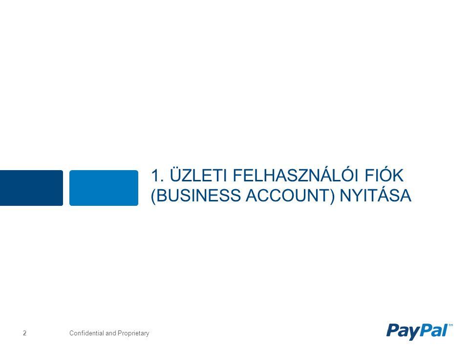 Confidential and Proprietary 1. ÜZLETI FELHASZNÁLÓI FIÓK (BUSINESS ACCOUNT) NYITÁSA 2