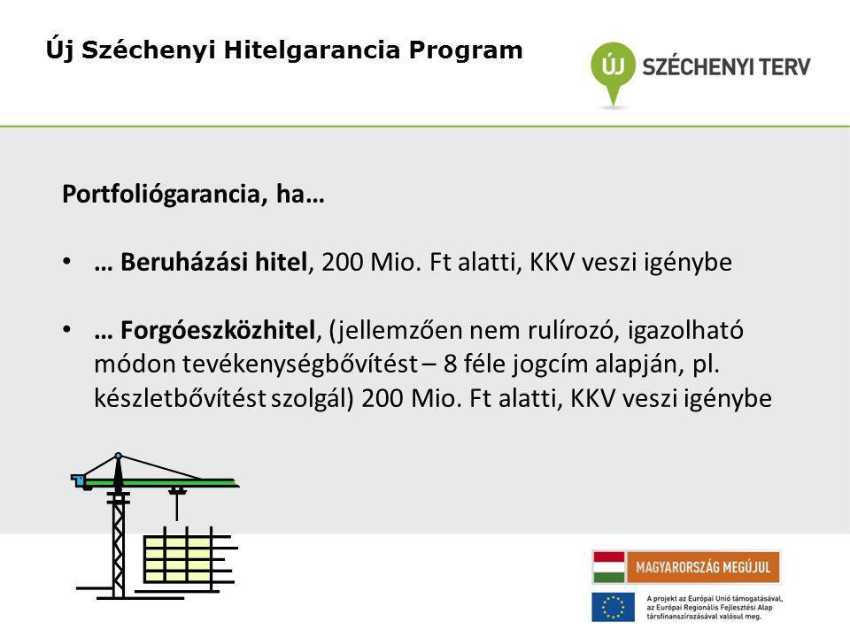 Új Széchenyi Hitelgarancia Program Portfoliógarancia, ha… • … Beruházási hitel, 200 Mio.