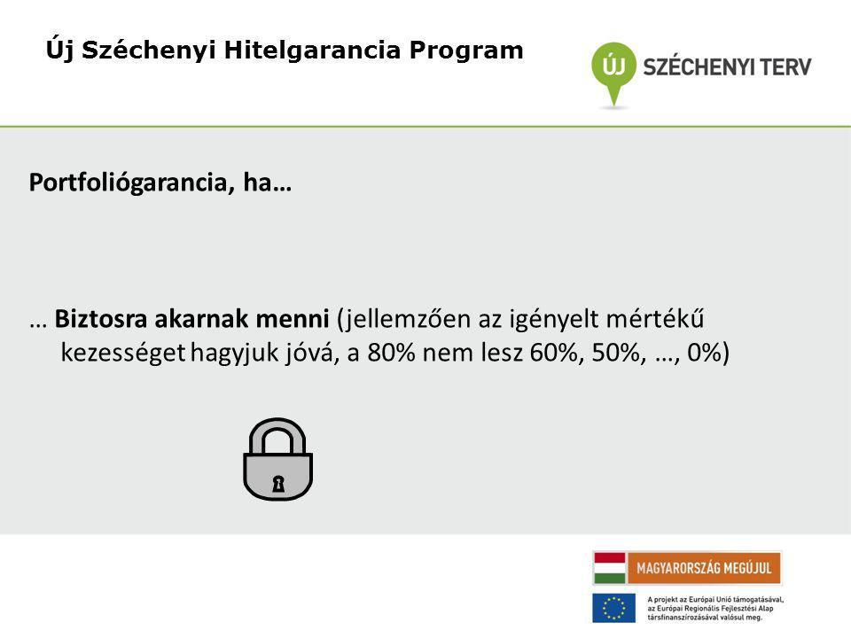 Portfoliógarancia, ha… … Biztosra akarnak menni (jellemzően az igényelt mértékű kezességet hagyjuk jóvá, a 80% nem lesz 60%, 50%, …, 0%) Új Széchenyi Hitelgarancia Program