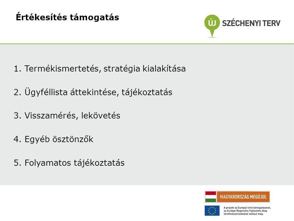 1.Termékismertetés, stratégia kialakítása 2.Ügyféllista áttekintése, tájékoztatás 3.Visszamérés, lekövetés 4.Egyéb ösztönzők 5.Folyamatos tájékoztatás Értékesítés támogatás