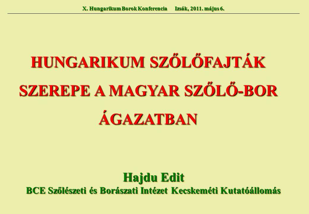HUNGARIKUM SZŐLŐFAJTÁK SZEREPE A MAGYAR SZŐLŐ-BOR ÁGAZATBAN HUNGARIKUM SZŐLŐFAJTÁK SZEREPE A MAGYAR SZŐLŐ-BOR ÁGAZATBAN Hajdu Edit BCE Szőlészeti és B