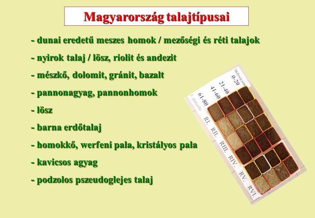Magyarország talajtípusai - dunai eredetű meszes homok / mezőségi és réti talajok - nyirok talaj / lösz, riolit és andezit - mészkő, dolomit, gránit,