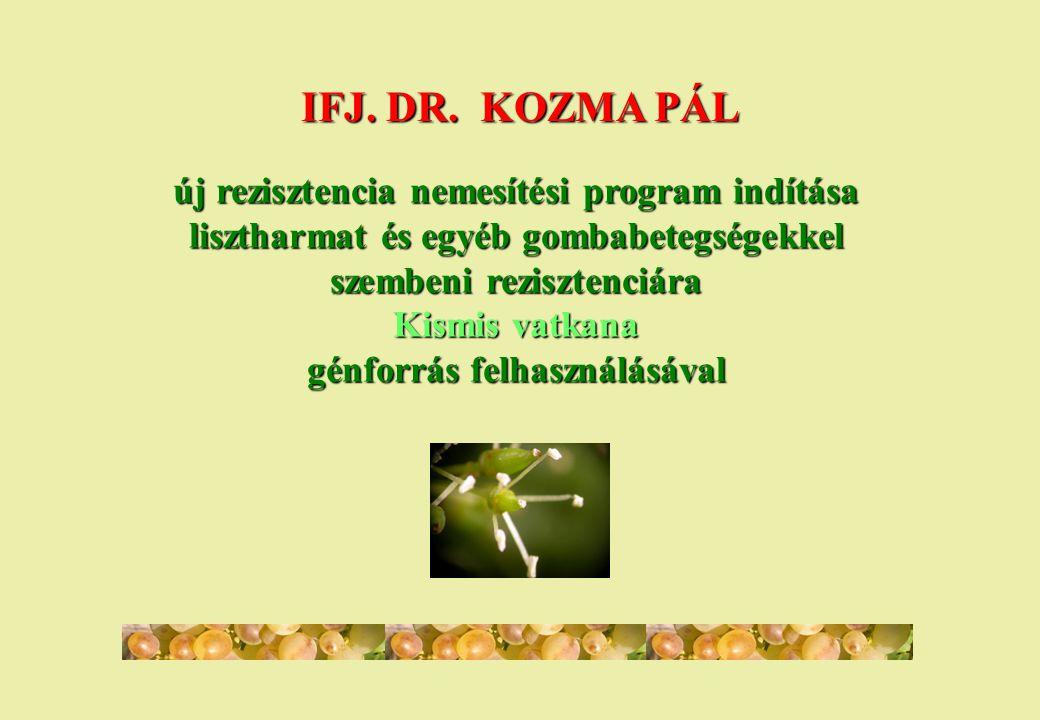 IFJ. DR. KOZMA PÁL új rezisztencia nemesítési program indítása lisztharmat és egyéb gombabetegségekkel szembeni rezisztenciára Kismis vatkana génforrá