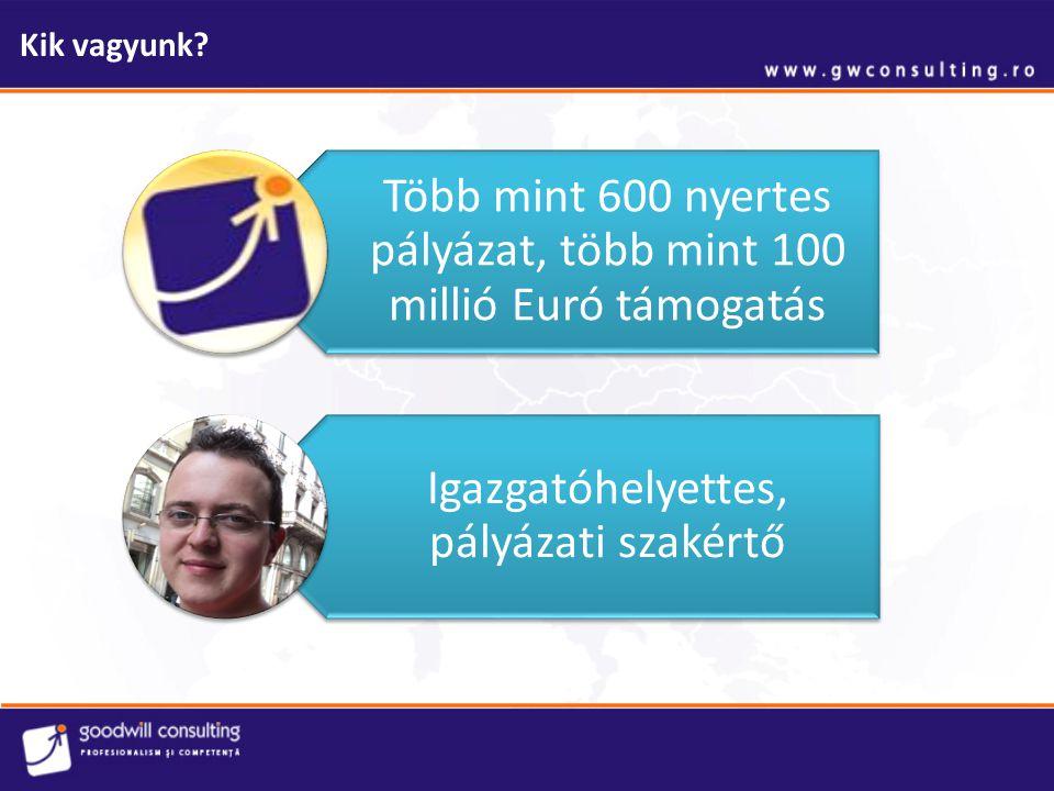 Kik vagyunk? Több mint 600 nyertes pályázat, több mint 100 millió Euró támogatás Igazgatóhelyettes, pályázati szakértő
