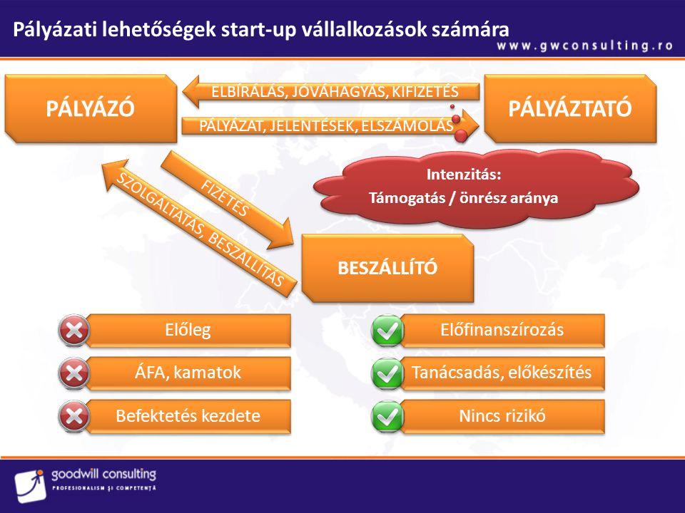 Pályázati lehetőségek start-up vállalkozások számára PÁLYÁZÓ PÁLYÁZTATÓ BESZÁLLÍTÓ PÁLYÁZAT, JELENTÉSEK, ELSZÁMOLÁS ELBÍRÁLÁS, JÓVÁHAGYÁS, KIFIZETÉS S