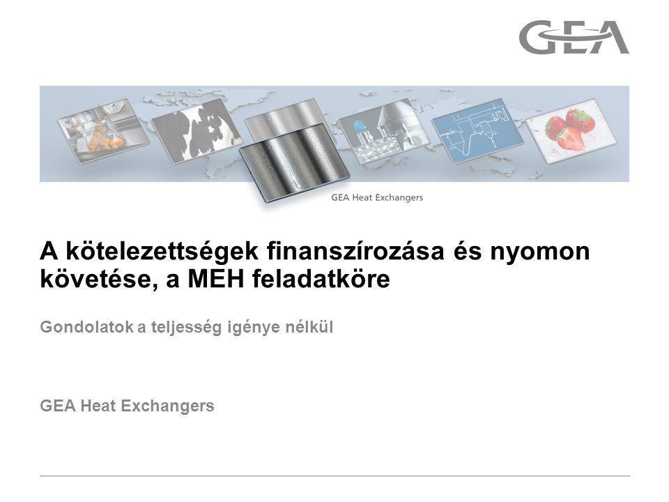 GEA Heat Exchangers Gondolatok a teljesség igénye nélkül A kötelezettségek finanszírozása és nyomon követése, a MEH feladatköre