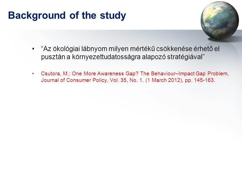 """Background of the study •""""Az ökológiai lábnyom milyen mértékű csökkenése érhető el pusztán a környezettudatosságra alapozó stratégiával"""" •Csutora, M.:"""