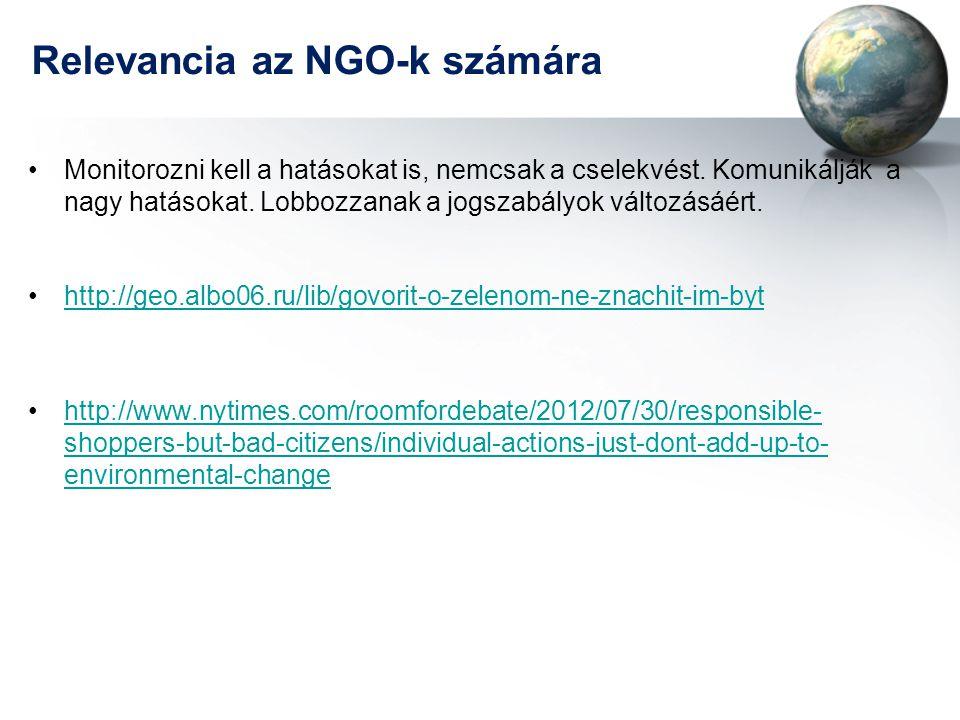Relevancia az NGO-k számára •Monitorozni kell a hatásokat is, nemcsak a cselekvést. Komunikálják a nagy hatásokat. Lobbozzanak a jogszabályok változás