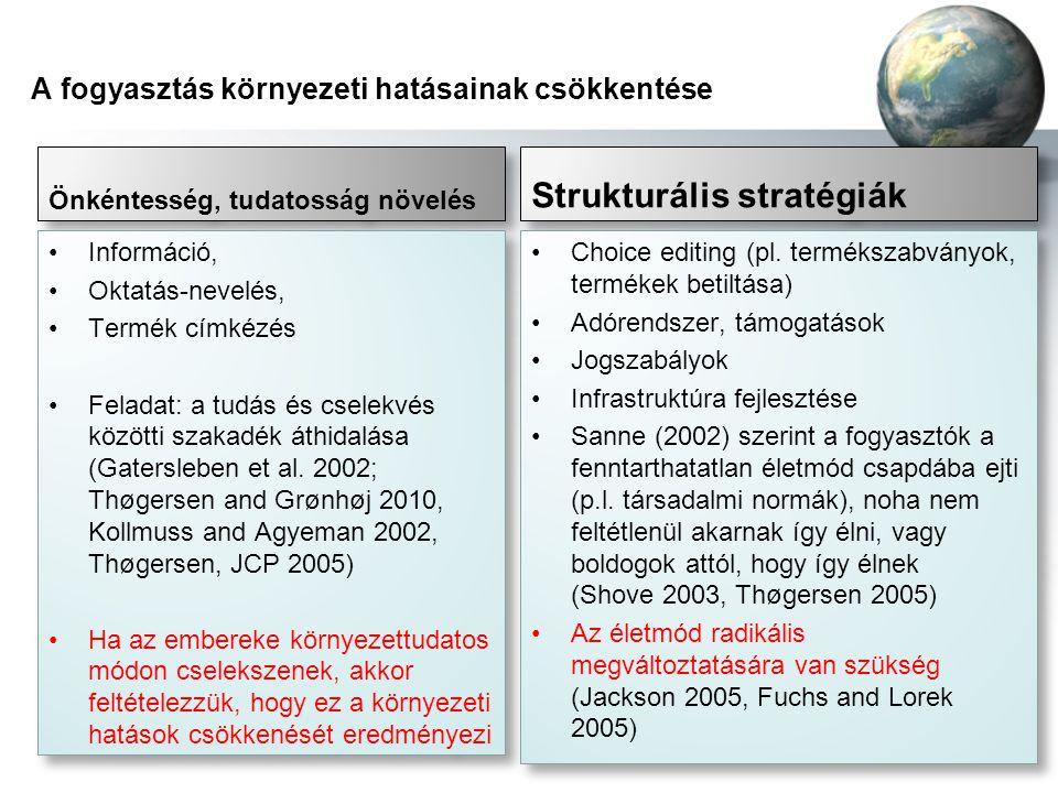 A fogyasztás környezeti hatásainak csökkentése Önkéntesség, tudatosság növelés •Információ, •Oktatás-nevelés, •Termék címkézés •Feladat: a tudás és cs
