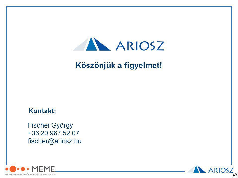 43 Köszönjük a figyelmet! Kontakt: Fischer György +36 20 967 52 07 fischer@ariosz.hu