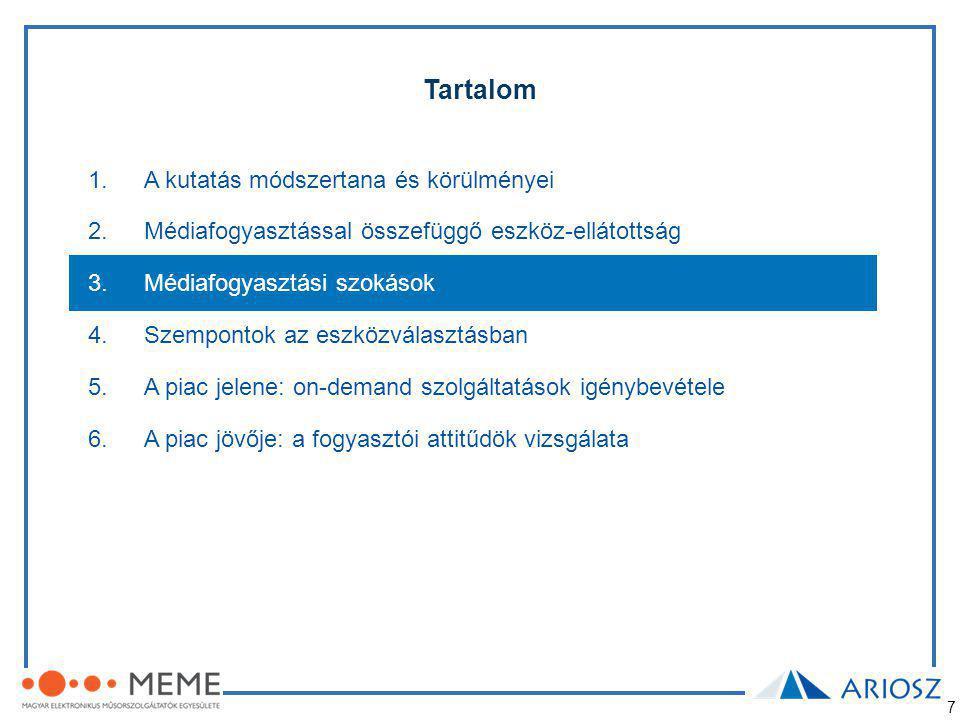 18 1.A kutatás módszertana és körülményei 2.Médiafogyasztással összefüggő eszköz-ellátottság 3.