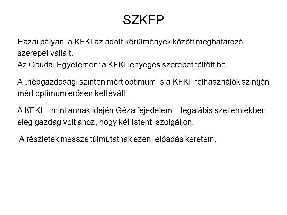 SZKFP Hazai pályán: a KFKI az adott körülmények között meghatározó szerepet vállalt.