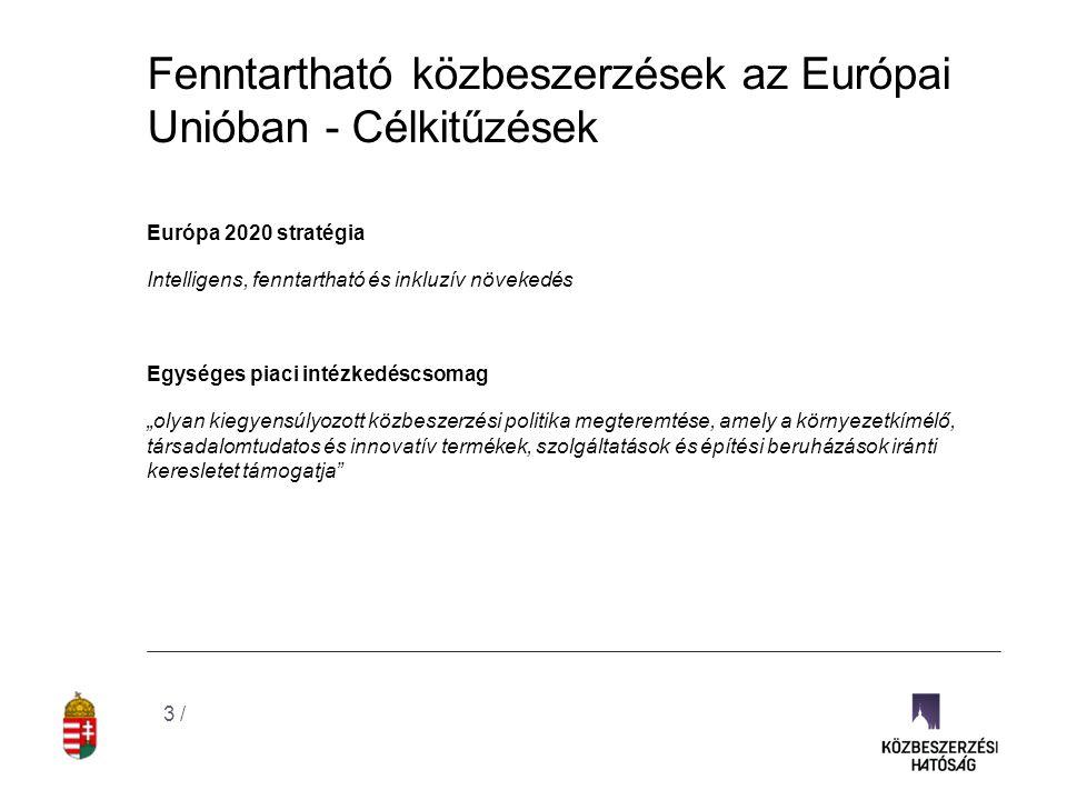 Fenntartható közbeszerzések az Európai Unióban - Célkitűzések Európa 2020 stratégia Intelligens, fenntartható és inkluzív növekedés Egységes piaci int