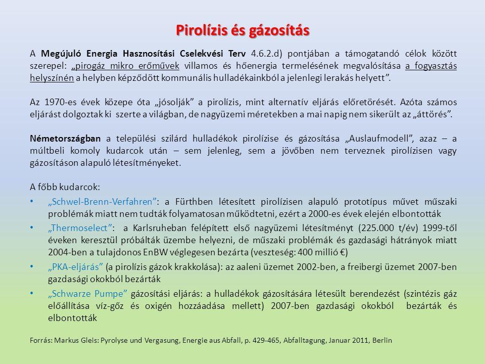 """Pirolízis és gázosítás A Megújuló Energia Hasznosítási Cselekvési Terv 4.6.2.d) pontjában a támogatandó célok között szerepel: """"pirogáz mikro erőművek"""