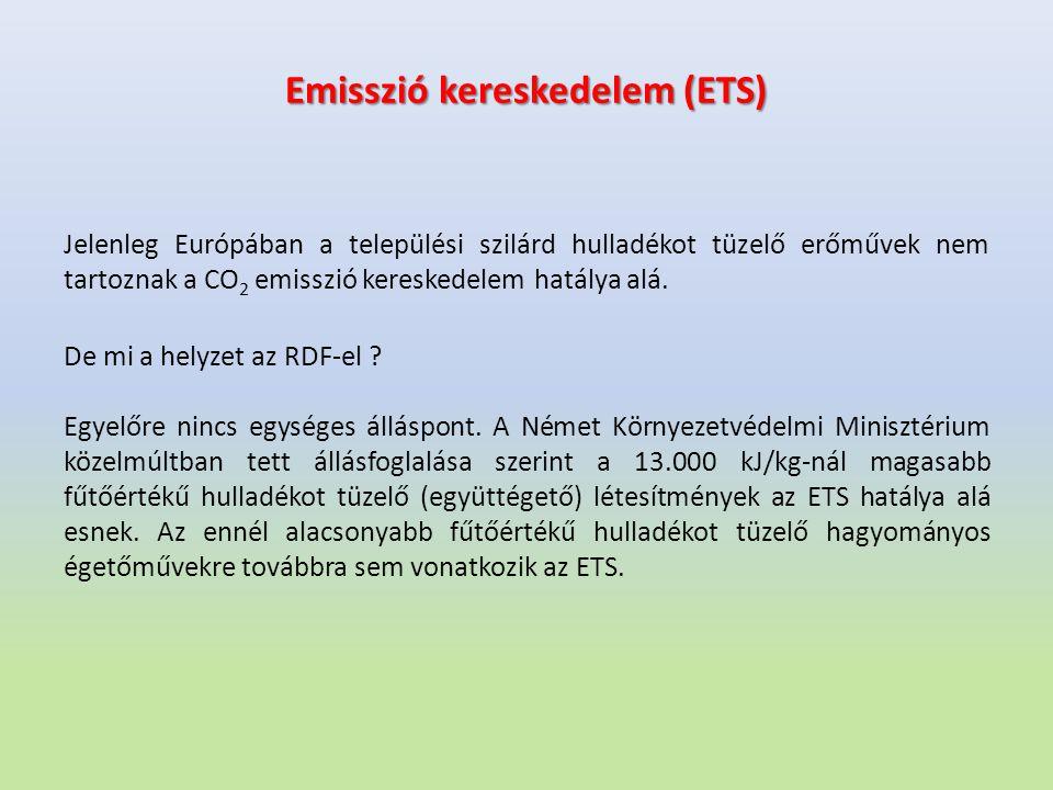 Emisszió kereskedelem (ETS) Jelenleg Európában a települési szilárd hulladékot tüzelő erőművek nem tartoznak a CO 2 emisszió kereskedelem hatálya alá.
