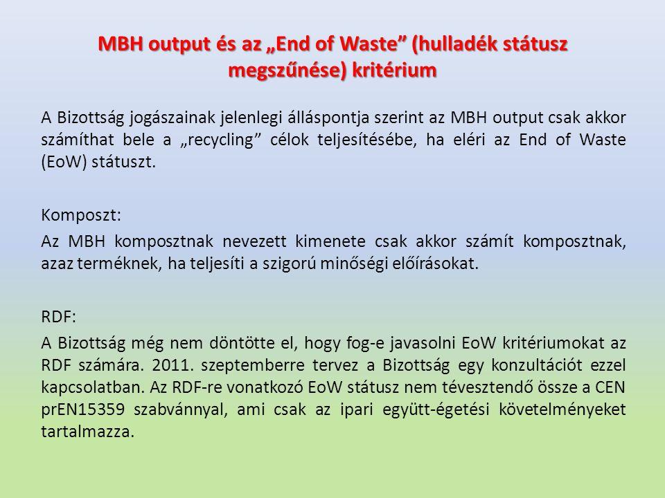"""MBH output és az """"End of Waste"""" (hulladék státusz megszűnése) kritérium A Bizottság jogászainak jelenlegi álláspontja szerint az MBH output csak akkor"""