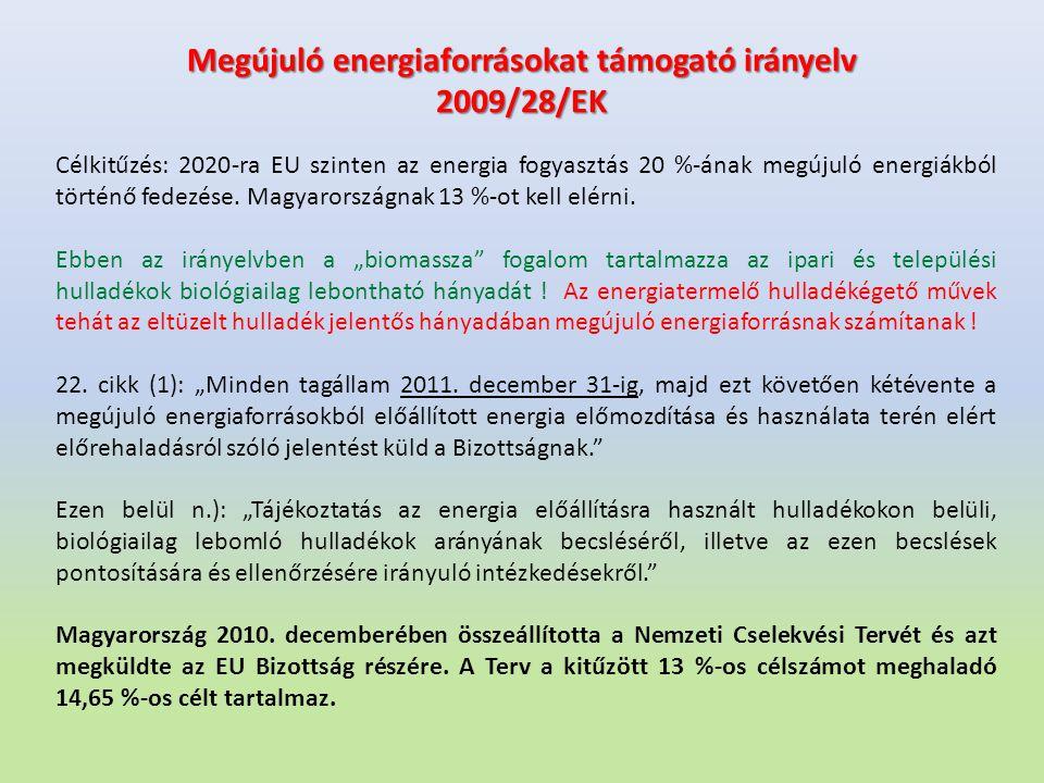 Megújuló energiaforrásokat támogató irányelv 2009/28/EK Célkitűzés: 2020-ra EU szinten az energia fogyasztás 20 %-ának megújuló energiákból történő fe