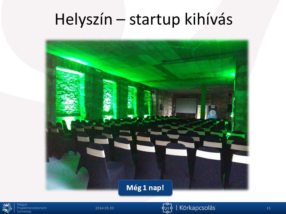 21 Helyszín – startup kihívás 2014.05.30.11 Még 1 nap!