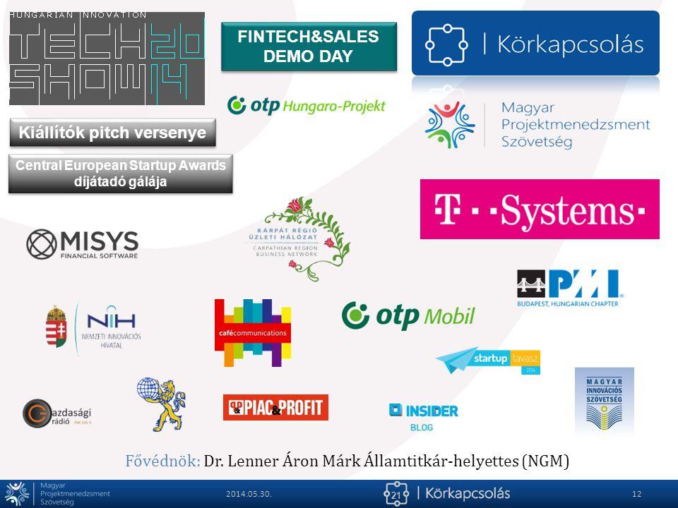 21 2014.05.30.12 FINTECH&SALES DEMO DAY Kiállítók pitch versenye Central European Startup Awards díjátadó gálája Fővédnök: Dr. Lenner Áron Márk Államt