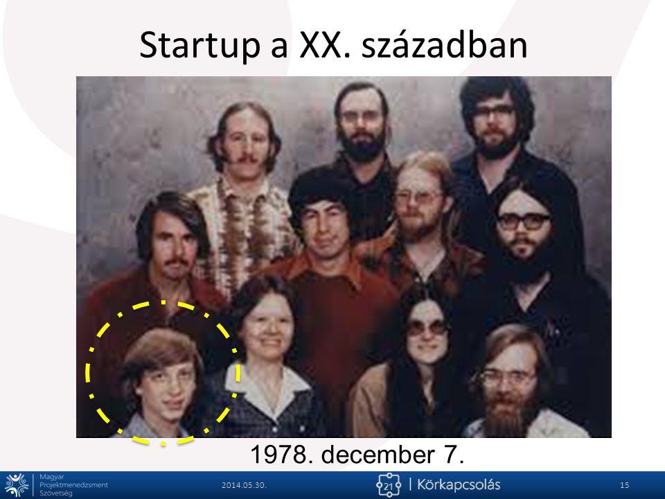 21 Startup a XX. században 2014.05.30.15 1978. december 7.
