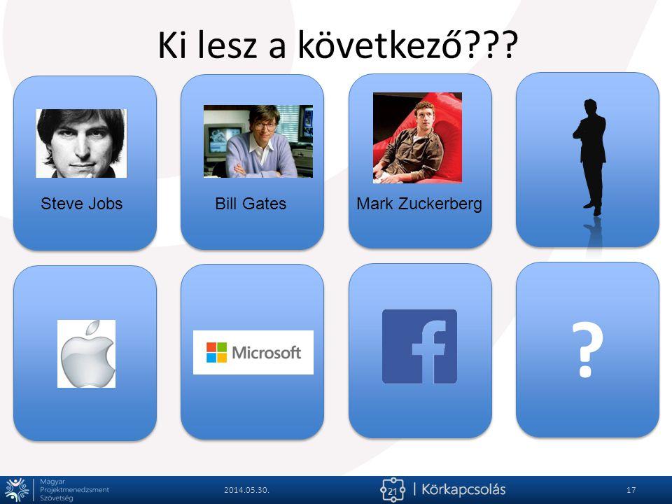 21 ? ? Ki lesz a következő??? 2014.05.30.17 Steve JobsBill GatesMark Zuckerberg