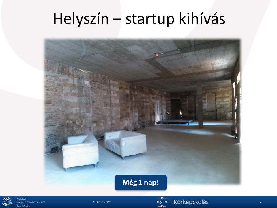 21 Helyszín – startup kihívás 2014.05.30.10 Még 1 nap!