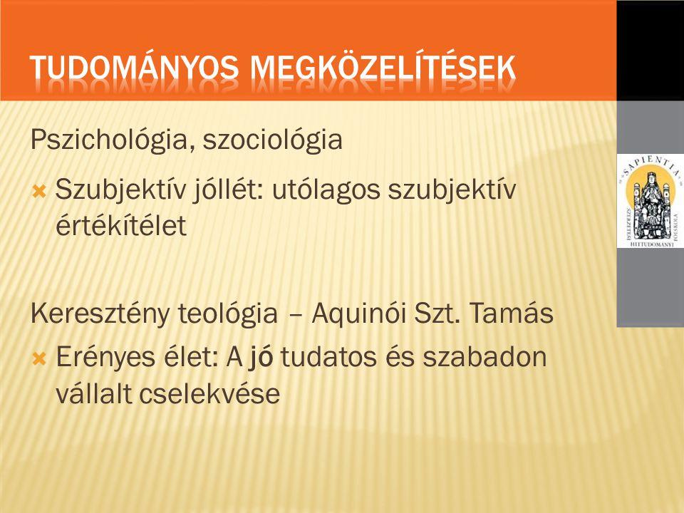 Pszichológia, szociológia  Szubjektív jóllét: utólagos szubjektív értékítélet Keresztény teológia – Aquinói Szt.