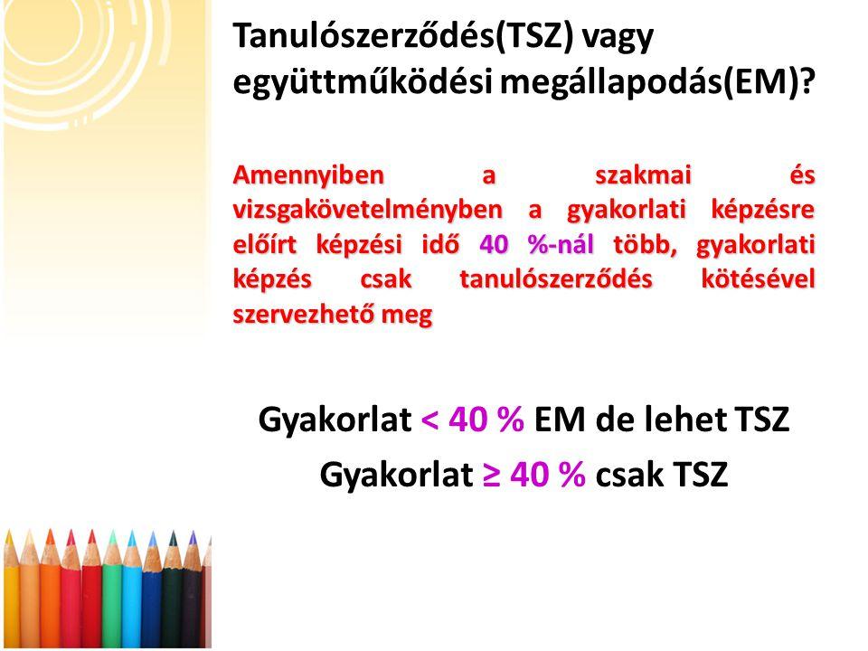 Tanulószerződés(TSZ) vagy együttműködési megállapodás(EM).