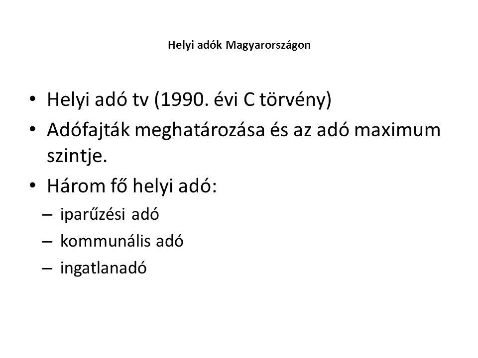 • Helyi adó tv (1990. évi C törvény) • Adófajták meghatározása és az adó maximum szintje. • Három fő helyi adó: – iparűzési adó – kommunális adó – ing