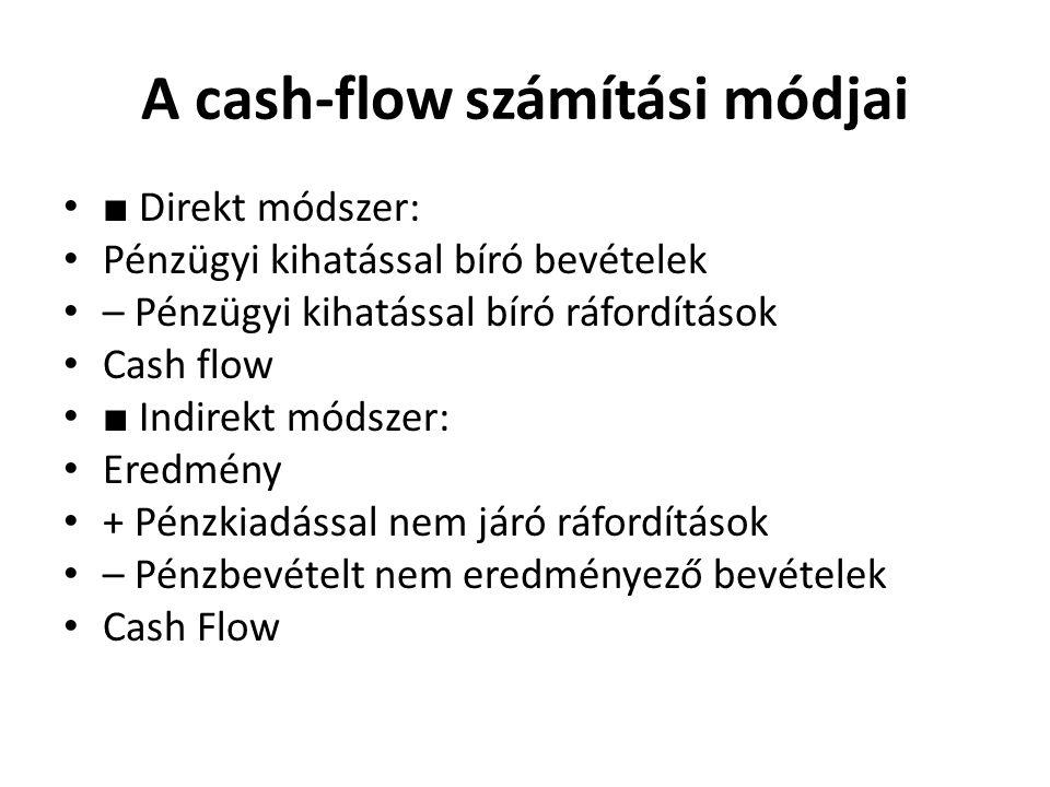 A cash-flow számítási módjai •■ Direkt módszer: • Pénzügyi kihatással bíró bevételek • – Pénzügyi kihatással bíró ráfordítások • Cash flow •■ Indirekt