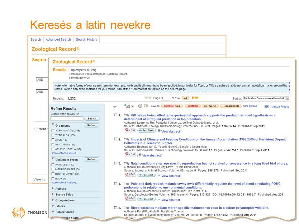Keresés a latin nevekre