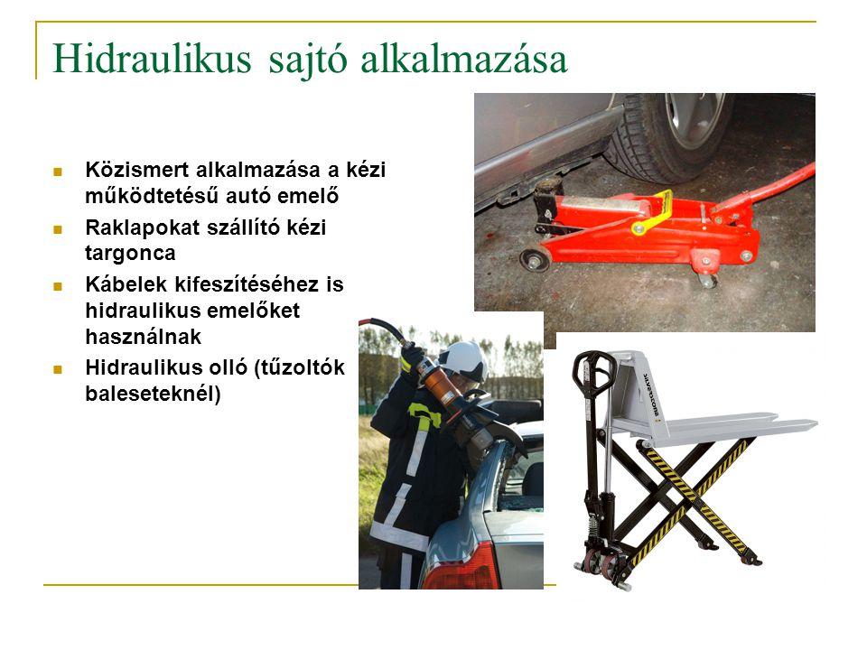 Hidraulikus sajtó alkalmazása  Közismert alkalmazása a kézi működtetésű autó emelő  Raklapokat szállító kézi targonca  Kábelek kifeszítéséhez is hi