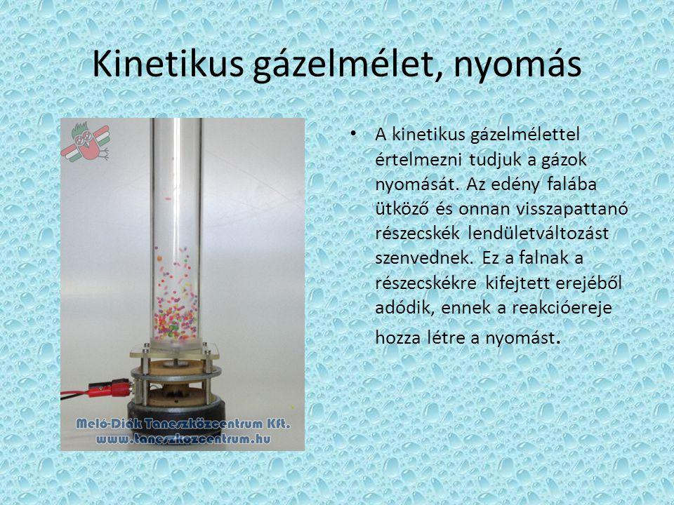 Kinetikus gázelmélet, nyomás • A kinetikus gázelmélettel értelmezni tudjuk a gázok nyomását. Az edény falába ütköző és onnan visszapattanó részecskék