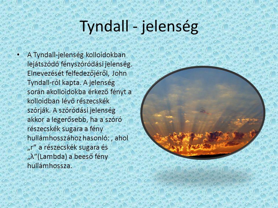 Tyndall - jelenség • A Tyndall-jelenség kolloidokban lejátszódó fényszóródási jelenség. Elnevezését felfedezőjéről, John Tyndall-ról kapta. A jelenség