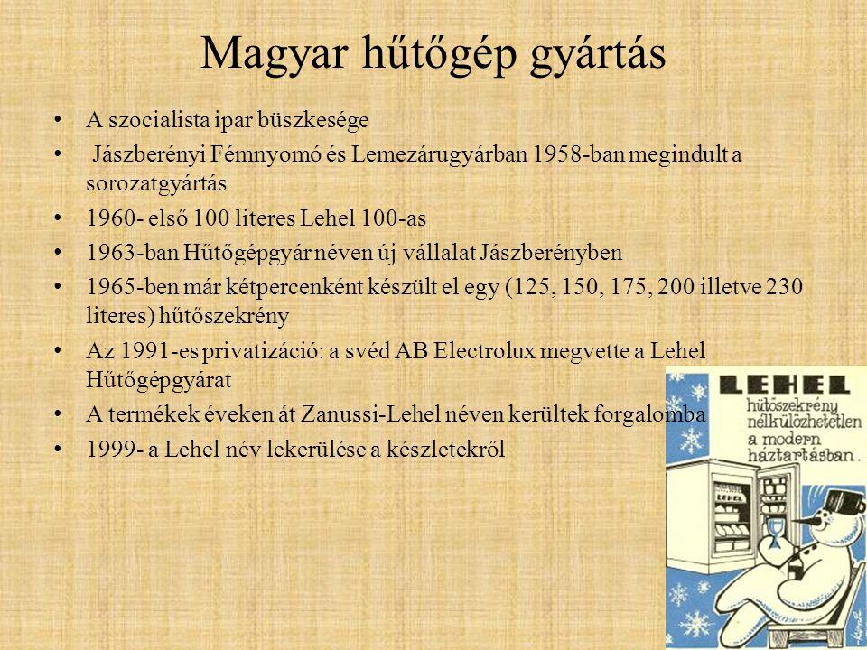 Magyar hűtőgép gyártás • A szocialista ipar büszkesége • Jászberényi Fémnyomó és Lemezárugyárban 1958-ban megindult a sorozatgyártás • 1960- első 100