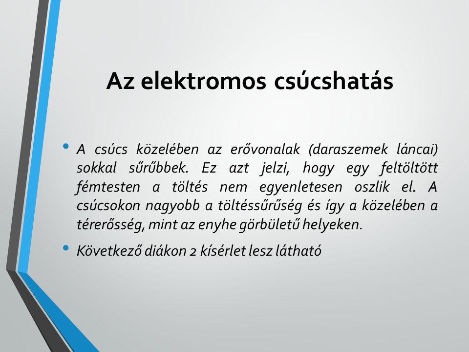 Az elektromos csúcshatás • A csúcs közelében az erővonalak (daraszemek láncai) sokkal sűrűbbek. Ez azt jelzi, hogy egy feltöltött fémtesten a töltés n