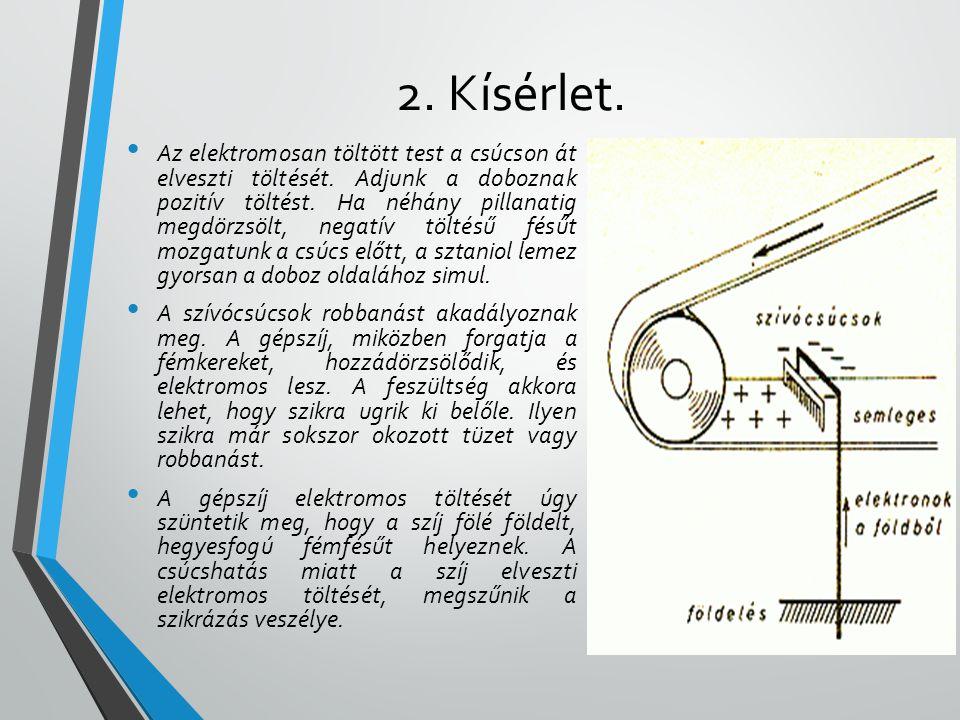 2. Kísérlet. • Az elektromosan töltött test a csúcson át elveszti töltését. Adjunk a doboznak pozitív töltést. Ha néhány pillanatig megdörzsölt, negat