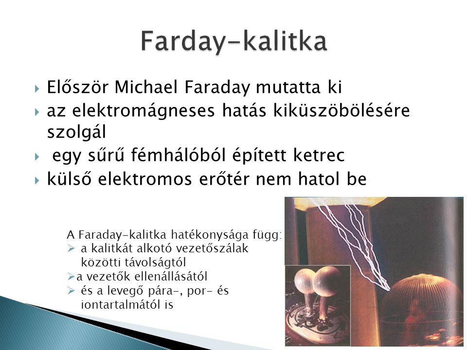  Először Michael Faraday mutatta ki  az elektromágneses hatás kiküszöbölésére szolgál  egy sűrű fémhálóból épített ketrec  külső elektromos erőtér